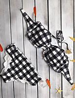 cheap -Women's Basic Black Bandeau Cheeky High Waist Bikini Swimwear - Check Lace up Print S M L Black