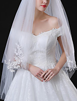 cheap -Two-tier Classic Style / Lace Wedding Veil Elbow Veils with Solid / Pattern 35.43 in (90cm) POLY / Lace