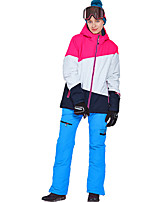 cheap -Phibee Women's Ski Jacket with Pants Skiing Camping / Hiking Winter Sports Windproof Warm Winter Sports Poly&Cotton Blend Warm Top Warm Pants Clothing Suit Ski Wear / Patchwork