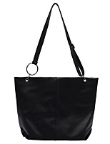 cheap -Women's Polyester / PU Top Handle Bag Solid Color Black / White