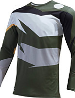 cheap -21Grams Men's Long Sleeve Cycling Jersey Downhill Jersey Dirt Bike Jersey Winter 100% Polyester Gray+White Bike Jersey Top Mountain Bike MTB Road Bike Cycling Thermal / Warm UV Resistant Breathable