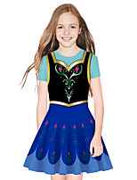 cheap -Princess Elsa Dress Girls' Movie Cosplay Cosplay Black / Blue Dress Halloween Carnival Masquerade Polyester