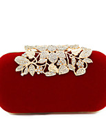 cheap -Women's Buttons / Crystals Polyester / Alloy Evening Bag Black / Dark Red