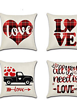 cheap -1pcs Valentine'S Day Pillowcase Red Plaid Romantic Couple Motto Car