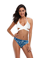 cheap -Women's Basic Blue Red Bandeau Cheeky High Waist Bikini Swimwear - Floral Geometric Lace up Print S M L Blue