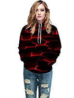 cheap -Women's Active / Street chic Hoodie - Geometric / Color Block / 3D Red L