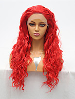 cheap -Synthetic Lace Front Wig Curly Loose Curl Free Part Lace Front Wig Long Red Synthetic Hair 18-30 inch Women's Cosplay Heat Resistant Classic Red / Natural Hairline