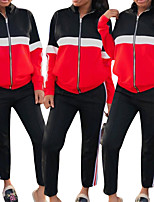 cheap -Women's Side-Stripe 2-Piece Tracksuit Sweatsuit 2pcs Running Fitness Jogging Windproof Breathable Soft Sportswear Athletic Clothing Set Long Sleeve Activewear Micro-elastic Regular Fit / Patchwork