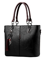 cheap -Women's Tassel Faux Leather / PU Top Handle Bag Solid Color Black / Earth Yellow / Wine