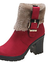 cheap -Women's Boots Chunky Heel Round Toe Suede Mid-Calf Boots Winter Black / Brown / Yellow
