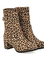 cheap -Women's Boots Chunky Heel Round Toe Suede Booties / Ankle Boots Winter Black / Leopard