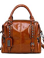 cheap -Women's Rivet Faux Leather / PU Top Handle Bag Solid Color Black / Wine / Yellow