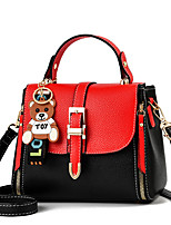 cheap -Women's Bear Faux Leather / PU Top Handle Bag Color Block Black / Earth Yellow / Blushing Pink