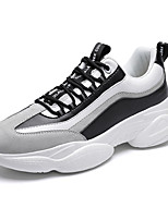 cheap -Men's Comfort Shoes Cowhide Fall / Spring & Summer Sporty / Casual Sneakers Running Shoes / Walking Shoes Breathable Black and White / White