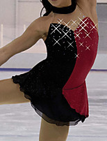 cheap -Figure Skating Dress Women's Girls' Ice Skating Dress Black / Red Patchwork Spandex High Elasticity Training Competition Skating Wear Patchwork Crystal / Rhinestone Sleeveless Ice Skating Figure