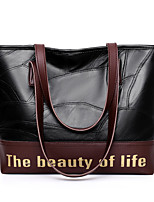 cheap -Women's Zipper Sheepskin Top Handle Bag Solid Color Black / Coffee