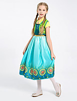 cheap -Anna Dress Masquerade Flower Girl Dress Girls' Movie Cosplay A-Line Slip Cosplay Halloween Blue Dress Halloween Carnival Masquerade Polyester