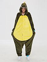 abordables -Adulte Pyjamas Kigurumi Dragon Combinaison de Pyjamas Molleton Vert foncé Cosplay Pour Homme et Femme Pyjamas Animale Dessin animé Fête / Célébration Les costumes / Collant / Combinaison