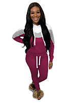 cheap -Women's 2-Piece Patchwork Tracksuit Sweatsuit 2pcs Pullover Running Fitness Jogging Windproof Breathable Soft Sportswear Athletic Clothing Set Long Sleeve Activewear Micro-elastic Regular Fit