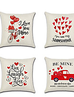 cheap -1pcs Valentine's Day Cushion Cover Red Love Balloon Truck Linen Digital Print
