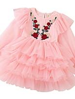 cheap -Kids Girls' Floral Long Sleeve Dress Blushing Pink