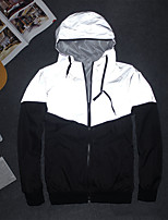 cheap -Men's Cowl Neck Track Jacket Reflective Jacket Running Jacket Full Zip Color Block Black / White Running Fitness Jogging Jacket Hoodie Long Sleeve Sport Activewear Reflective Windproof Breathable
