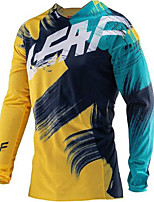 cheap -21Grams Men's Long Sleeve Cycling Jersey Downhill Jersey Dirt Bike Jersey Winter 100% Polyester Green / Yellow Bike Jersey Top Mountain Bike MTB Road Bike Cycling Thermal / Warm UV Resistant