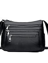 cheap -Women's Zipper Sheepskin Crossbody Bag Solid Color Black