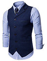 cheap -James Bond Gentleman Vintage Double Breasted Waistcoat Men's Slim Fit Cotton Costume Black / Burgundy / Navy Blue Vintage Cosplay Party Halloween / Vest