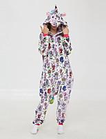 abordables -Adulte Pyjamas Kigurumi Licorne Combinaison de Pyjamas Molleton Arc-en-ciel Cosplay Pour Homme et Femme Pyjamas Animale Dessin animé Fête / Célébration Les costumes / Collant / Combinaison