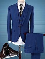 abordables -Bleu / Bleu Marine Rayé Coupe Sur-Mesure Polyester Costume - En Pointe Droit 1 bouton / costumes