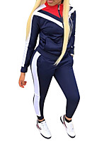 cheap -Women's 2-Piece Full Zip Fleece Tracksuit Sweatsuit 2pcs Mandarin Collar Running Fitness Jogging Windproof Breathable Soft Sportswear Athletic Clothing Set Long Sleeve Activewear Micro-elastic