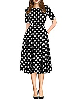 cheap -Women's Daily Street Street chic Elegant A Line Dress - Floral Patchwork Print Black White Yellow S M L XL
