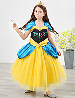 cheap -Anna Dress Masquerade Flower Girl Dress Girls' Movie Cosplay A-Line Slip Cosplay Halloween Yellow Dress Halloween Carnival Masquerade Tulle Polyester