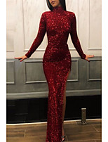 cheap -Sheath / Column High Neck Floor Length Sequined Sparkle & Shine Engagement / Formal Evening Dress 2020 with Sequin / Split Front