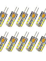 cheap -10pcs High Brightness G4 3W 24 SMD 2835 260 LM Warm White / Cool White T Decorative Corn Bulbs AC/DC 12 V