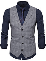 cheap -James Bond Gentleman Vintage Double Breasted Waistcoat Men's Slim Fit Cotton Costume Gray & Black / Gray / Coffee Vintage Cosplay Party Halloween / Vest