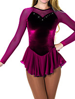 cheap -Figure Skating Dress Women's Girls' Ice Skating Dress Purple Spandex High Elasticity Training Competition Skating Wear Crystal / Rhinestone Long Sleeve Ice Skating Figure Skating