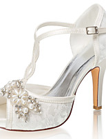 cheap -Women's Wedding Shoes Stiletto Heel Peep Toe Crystal / Pearl Satin Summer Ivory / Party & Evening