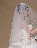 cheap -Two-tier Classic Style / Lace Wedding Veil Elbow Veils with Solid / Pattern 31.5 in (80cm) POLY / Lace / Drop Veil