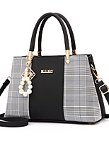 cheap -Women's Pearls Faux Leather / PU Top Handle Bag Lattice Black / Blushing Pink / Blue