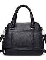 cheap -Women's Zipper Faux Leather / PU Top Handle Bag Solid Color Black / Earth Yellow / Blue