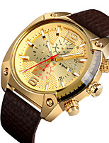 cheap -SKMEI Men's Dress Watch Quartz Leather Black 30 m Water Resistant / Waterproof Calendar / date / day Chronograph Analog - Digital Casual - Black Gold Silver Two Years Battery Life