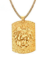 cheap -Men's Pendant Necklace Classic Lion Fashion Titanium Steel Coin-Gold 60 cm Necklace Jewelry 1pc For Daily Work