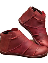 cheap -Women's Boots Flat Heel Round Toe PU Booties / Ankle Boots Winter Brown / Red / Gray