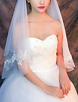 cheap -Two-tier Classic Style / Lace Wedding Veil Shoulder Veils with Solid / Pattern 35.43 in (90cm) POLY / Lace