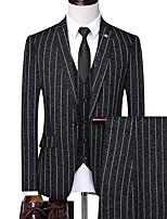 abordables -Noir / Ivoire / Bleu Marine Rayé Coupe Sur-Mesure Polyester Costume - Cranté Droit 1 bouton / costumes