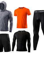 cheap -Men's Elastane Tracksuit 5pcs Front Zipper Round Active Training Fitness Gym Workout Sportswear Plus Size Normal Breathable Quick Dry Soft Sweat-wicking Running T-Shirt With Pants Athletic Clothing