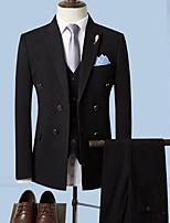 abordables -Noir / Gris Claire / Gris Couleur Pleine Coupe Sur-Mesure Polyester Costume - En Pointe Croisé 4 boutons / costumes