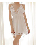 cheap -Women's Lace / Mesh Babydoll & Slips Nightwear Solid Colored White One-Size